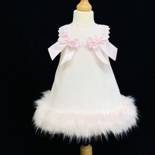 Gorgeous Baby Girl Pink Spanish Fur Bottom Dress with Pink Bow